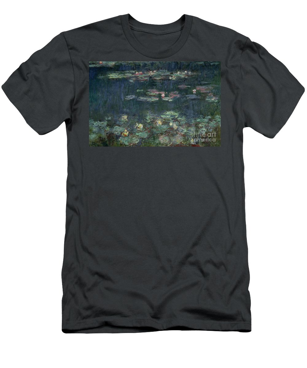 Monet Men's T-Shirt (Athletic Fit) featuring the painting Waterlilies Green Reflections by Claude Monet