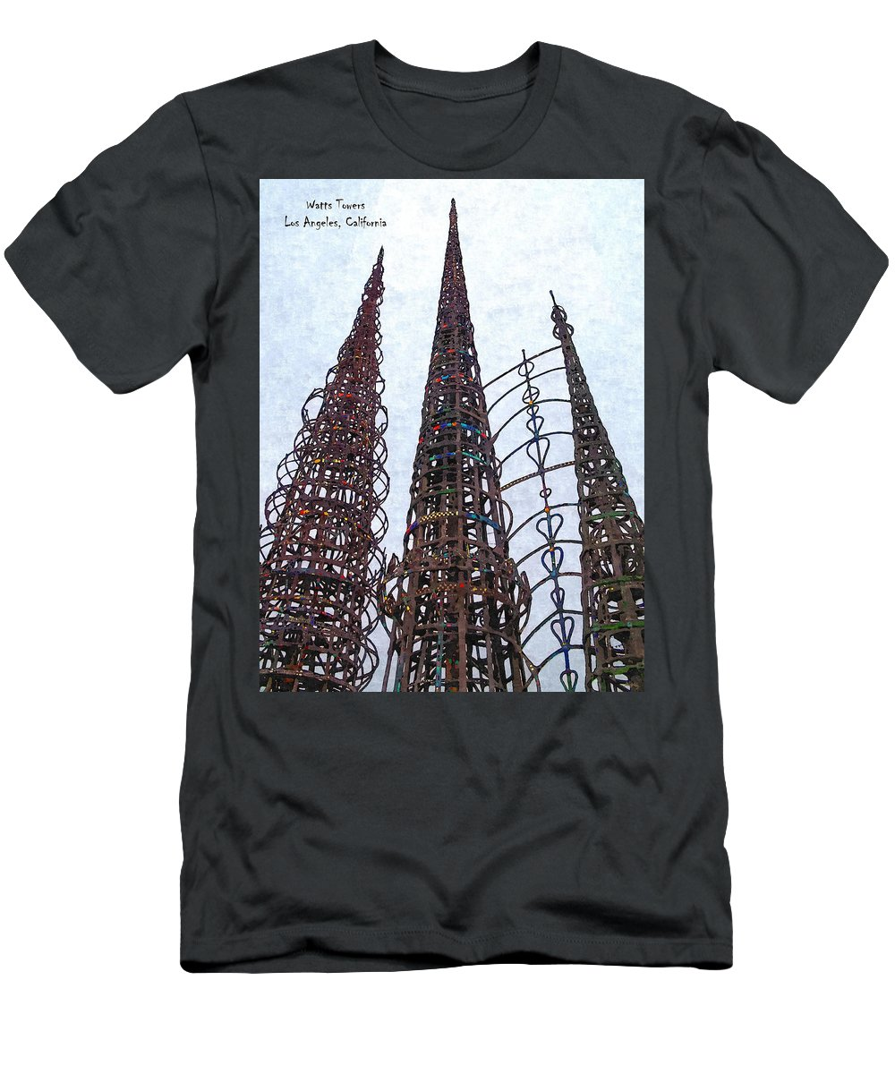 Glenn Mccarthy Men's T-Shirt (Athletic Fit) featuring the photograph Watts Towers 2 - Los Angeles by Glenn McCarthy Art and Photography