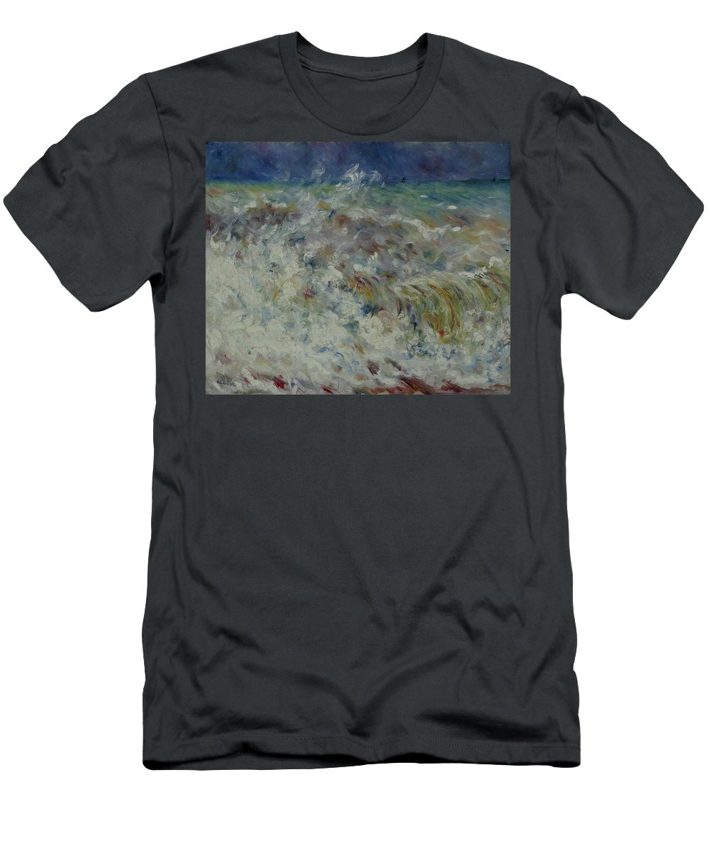 Pierre-auguste Renoir Men's T-Shirt (Athletic Fit) featuring the painting Wave At Sea by MotionAge Designs