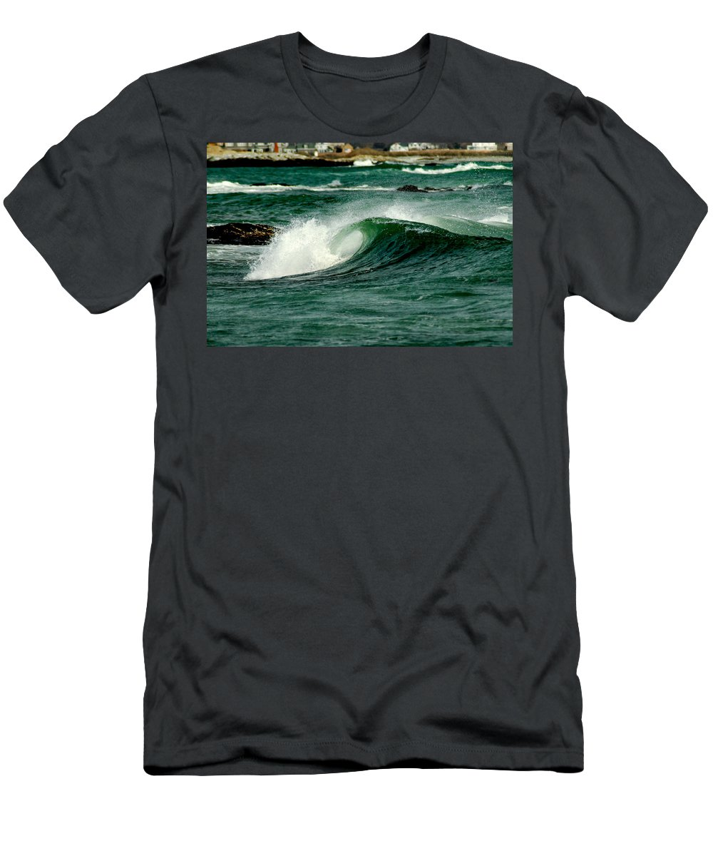 Water Men's T-Shirt (Athletic Fit) featuring the photograph Wave Curl by Greg Fortier