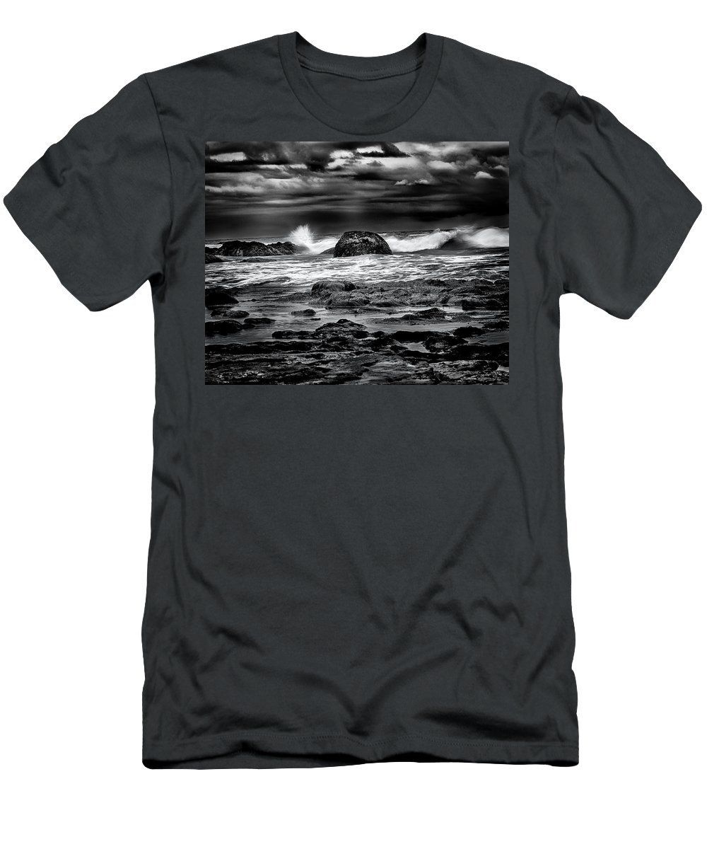 Art Men's T-Shirt (Athletic Fit) featuring the photograph Waves At Dawn by Denise Dube