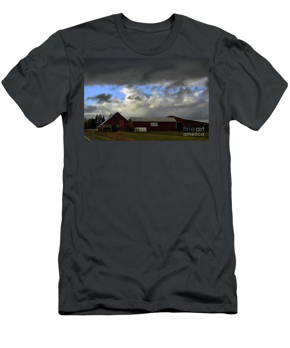 Clay Men's T-Shirt (Athletic Fit) featuring the photograph Weather Threatening The Farm by Clayton Bruster