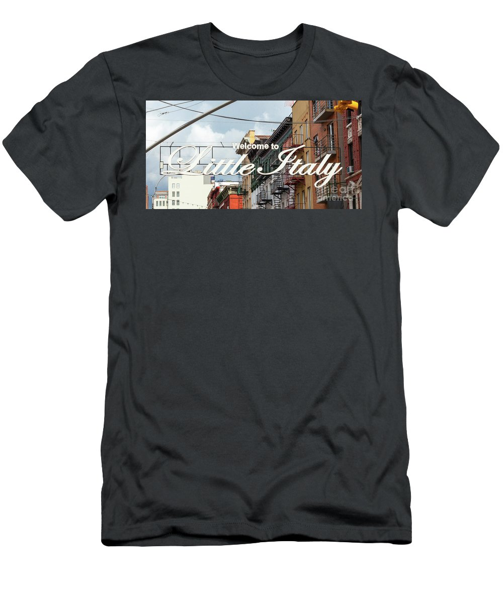 America Men's T-Shirt (Athletic Fit) featuring the photograph Welcome To Little Italy Sign In Lower Manhattan. by Antonio Gravante