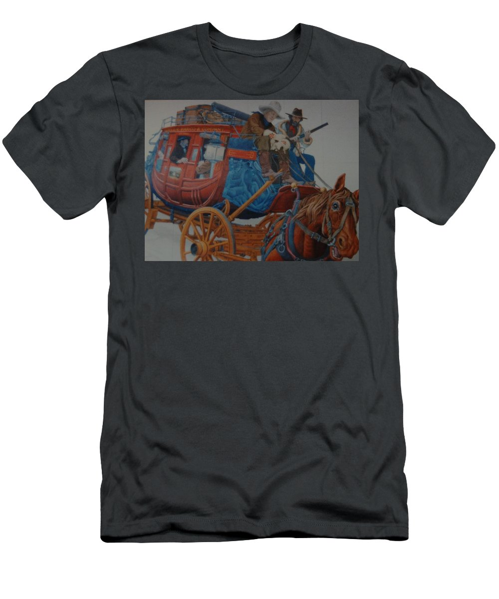 Mural Men's T-Shirt (Athletic Fit) featuring the photograph Wells Fargo Stagecoach by Rob Hans