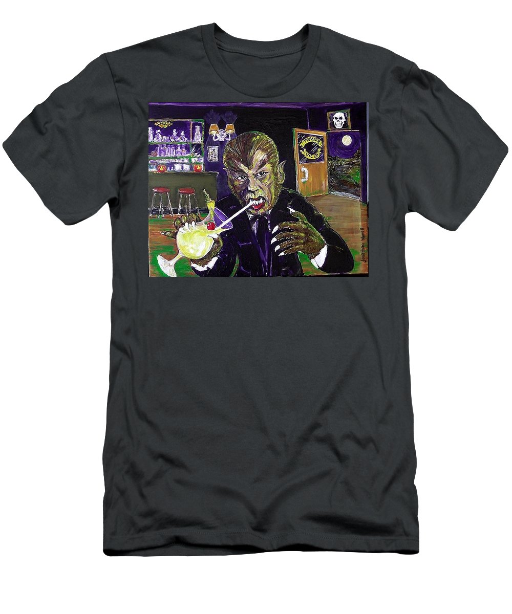 Werewolf Werewolves Of London Universal Monsters Pina Colada Warren Zevon Halloween Henry Hull Hollywood Mai-tai 1935 1978 1995 2014 Tonga Hut Beast In Show Witch's Dungeon Universal Ioka Bristol Connecticut Kent Men's T-Shirt (Athletic Fit) featuring the painting Werewolf Drinking A Pina Colada At Trader Vic's by Jonathan Morrill