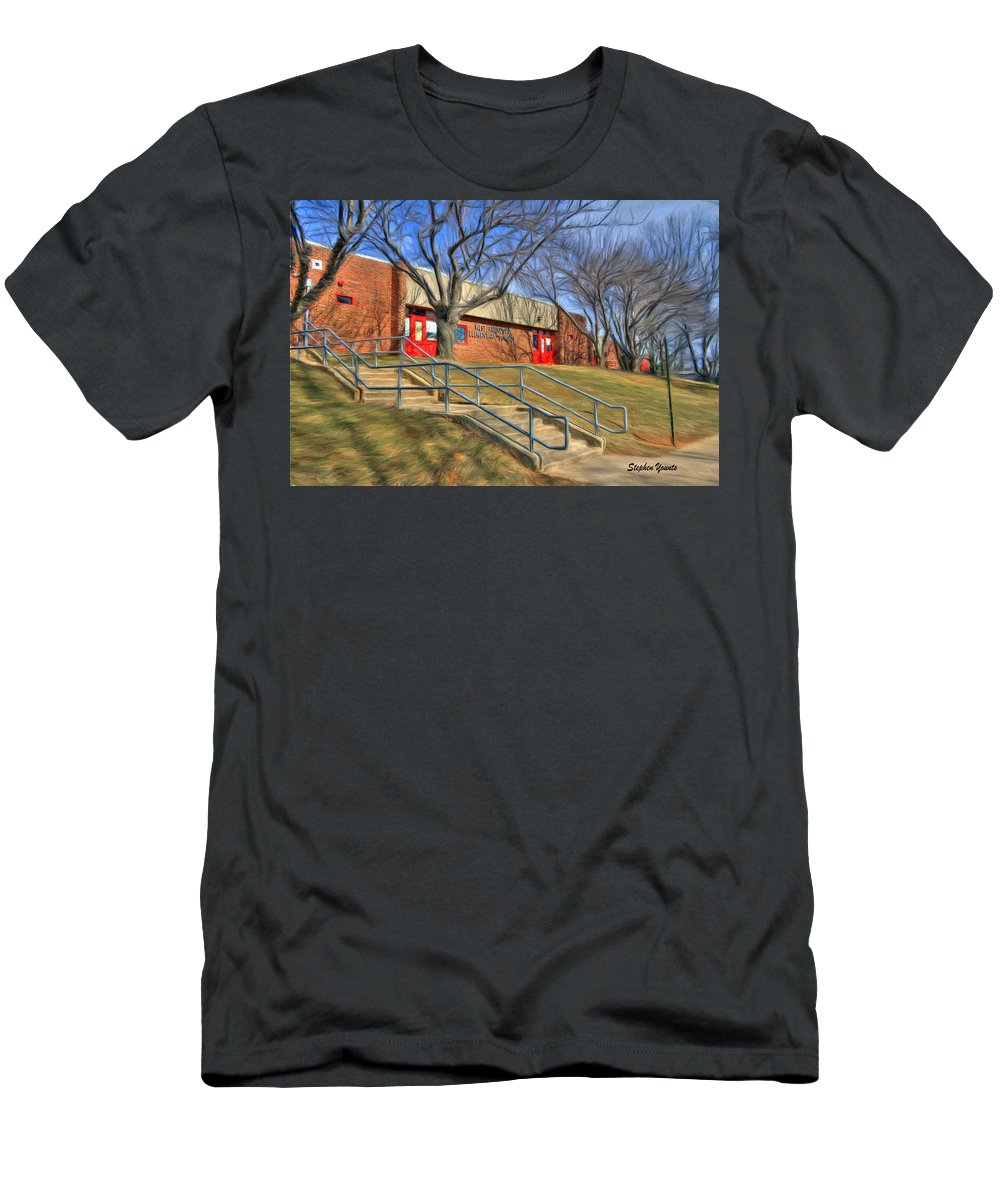 West Men's T-Shirt (Athletic Fit) featuring the digital art West Friendship Elementary School by Stephen Younts