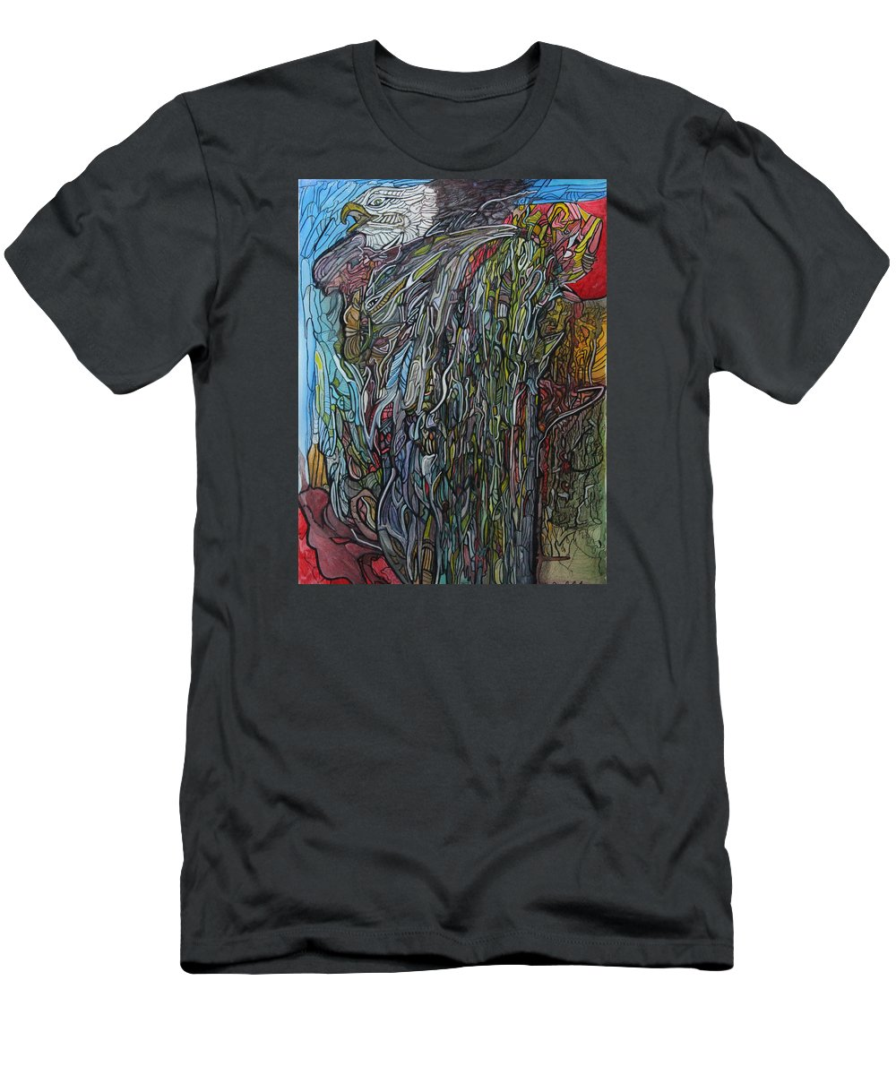 Eagle Men's T-Shirt (Athletic Fit) featuring the painting West Meets East by Maxine Findlow