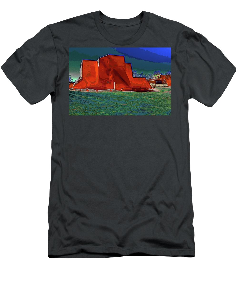 Santa Men's T-Shirt (Athletic Fit) featuring the digital art West View Of Church In Ranchos by Charles Muhle