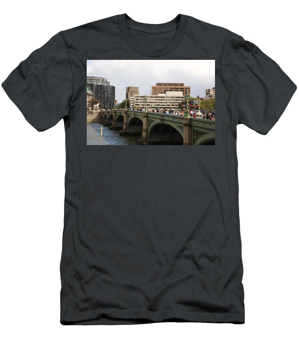 Westminster Men's T-Shirt (Athletic Fit) featuring the photograph Westminster Bridge. by Christopher Rowlands