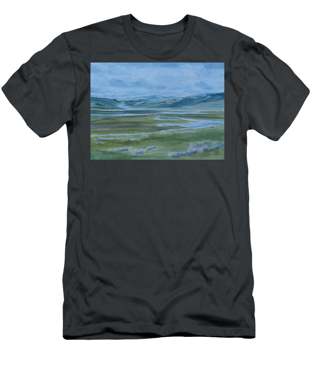 Watercolor Men's T-Shirt (Athletic Fit) featuring the painting Wet Summer In Big Sky Country by Jenny Armitage