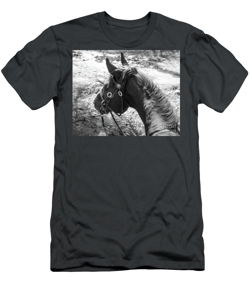 Horse Men's T-Shirt (Athletic Fit) featuring the photograph Wettin' The Whistle by Katie Brown