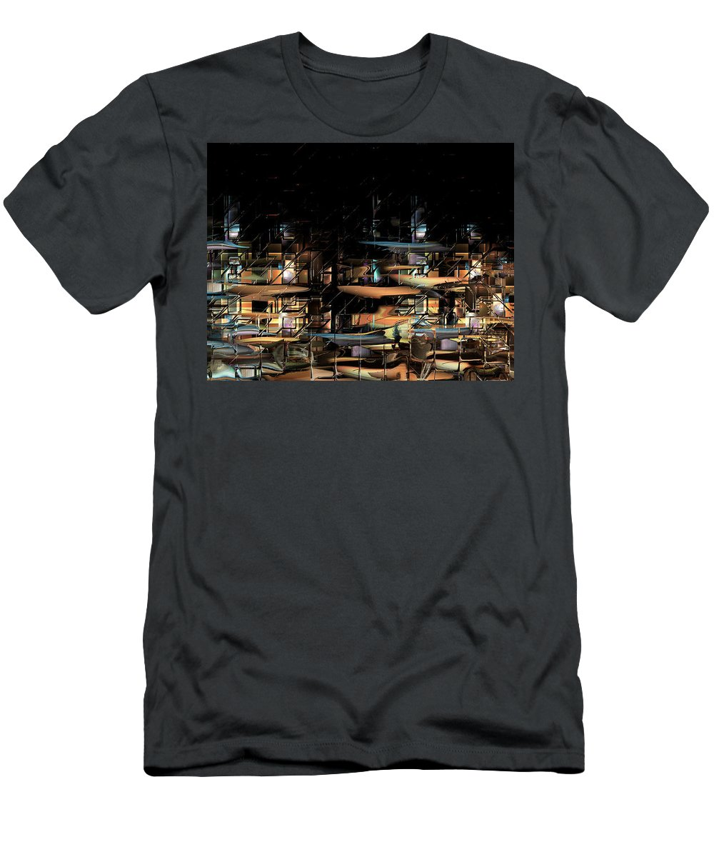 Philsh Men's T-Shirt (Athletic Fit) featuring the digital art Wharves by Phil Sadler