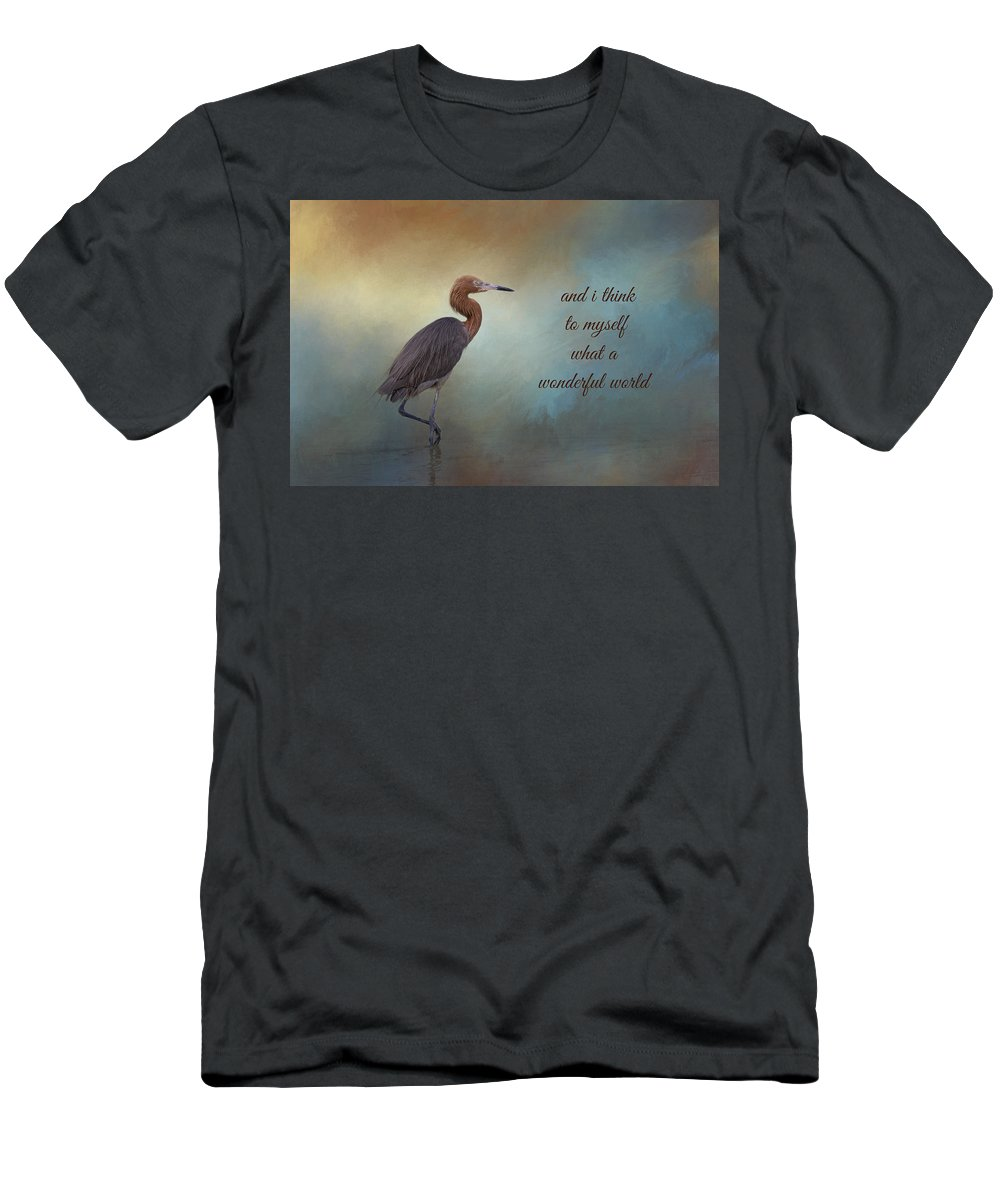 Reddish Egret Men's T-Shirt (Athletic Fit) featuring the photograph What A Wonderful World by Kim Hojnacki
