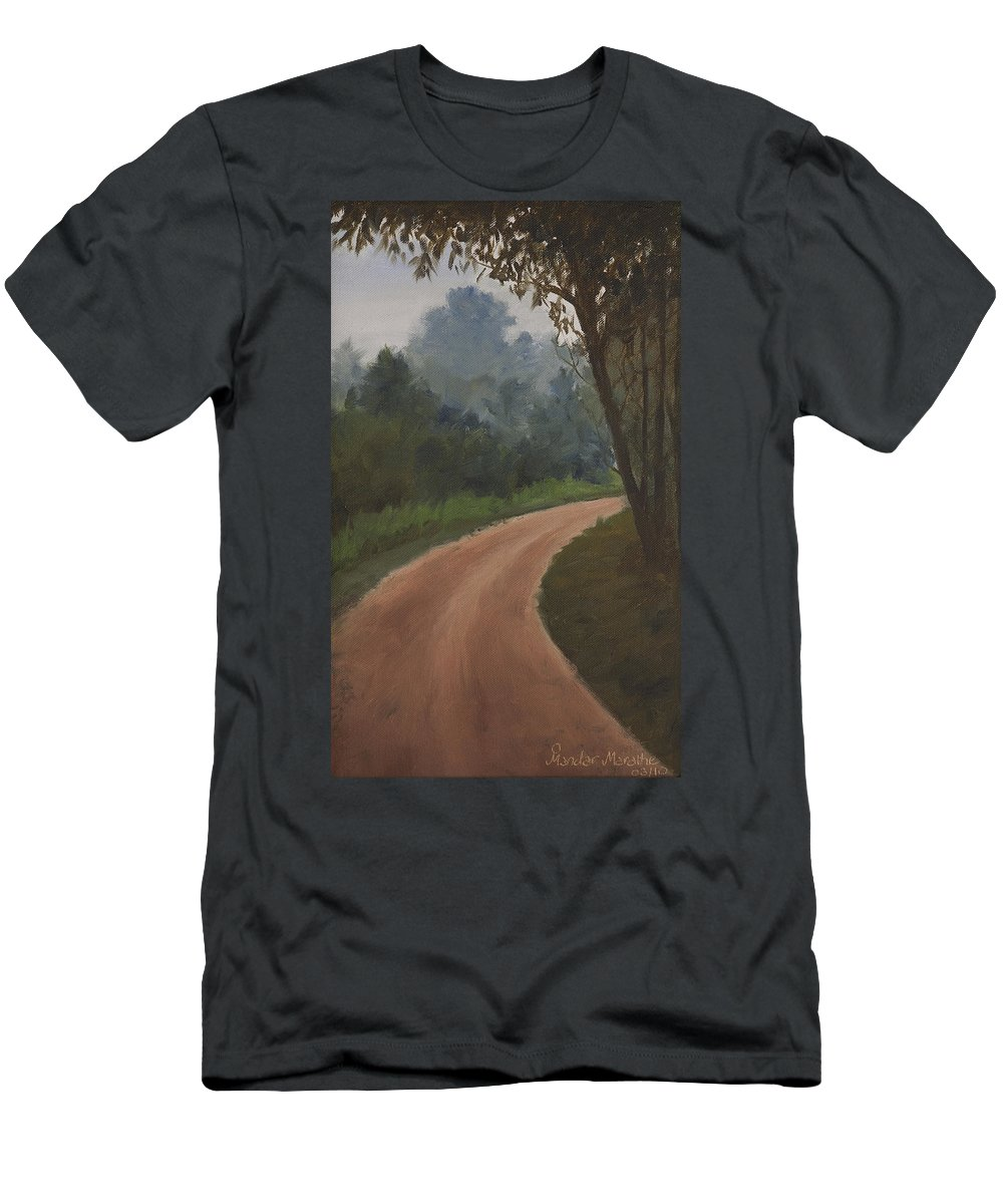 What Lies Ahead Men's T-Shirt (Athletic Fit) featuring the painting What Lies Ahead by Mandar Marathe