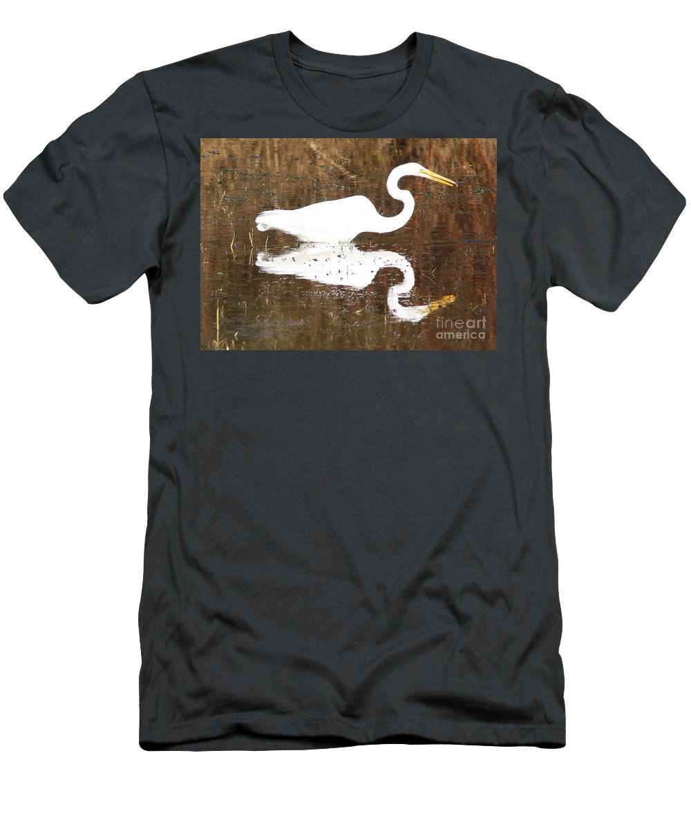 Egret Men's T-Shirt (Athletic Fit) featuring the photograph What The Egret Caught by Carol Groenen