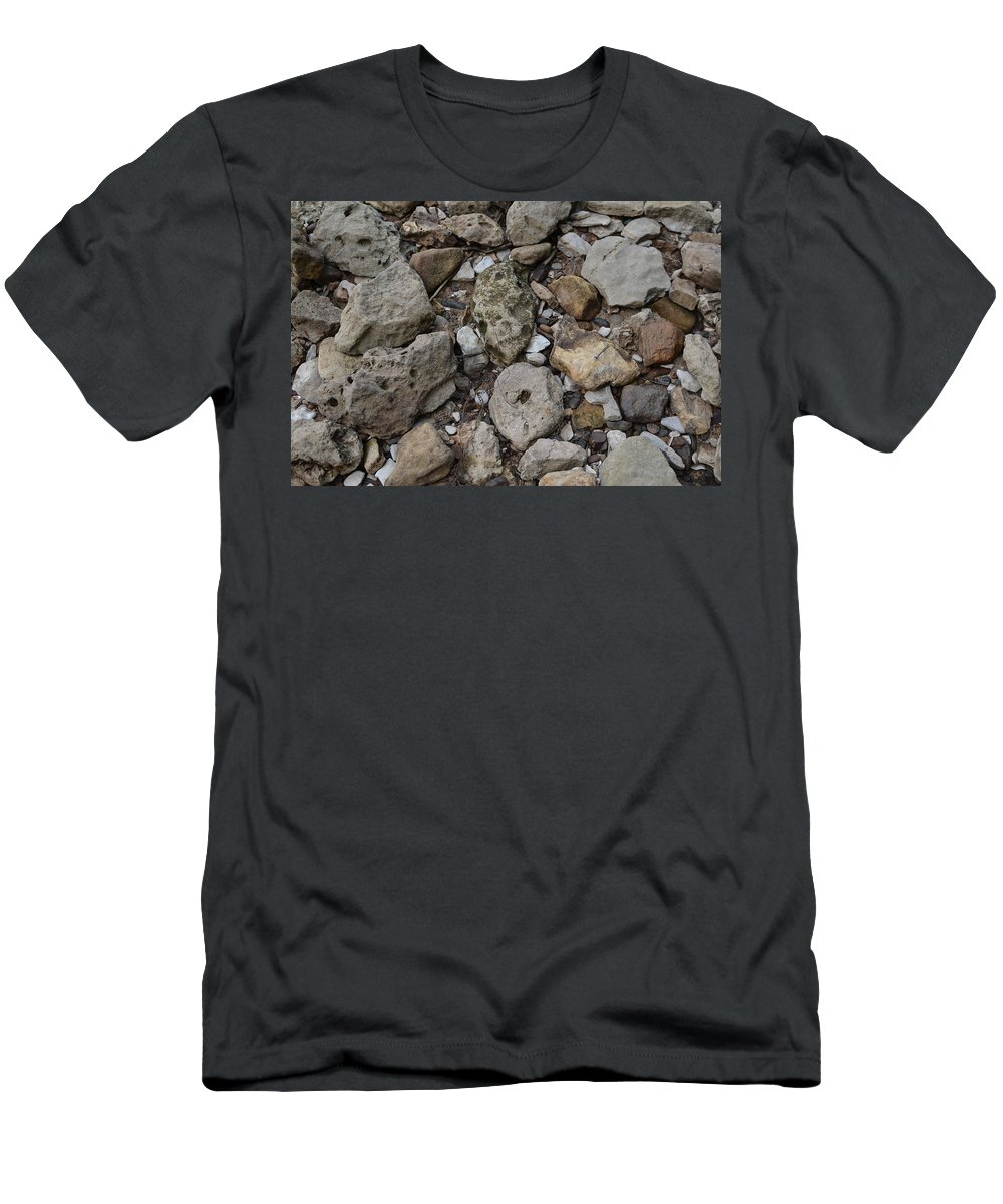River Rock Men's T-Shirt (Athletic Fit) featuring the photograph What The Tide Brings In by Tammy Mutka