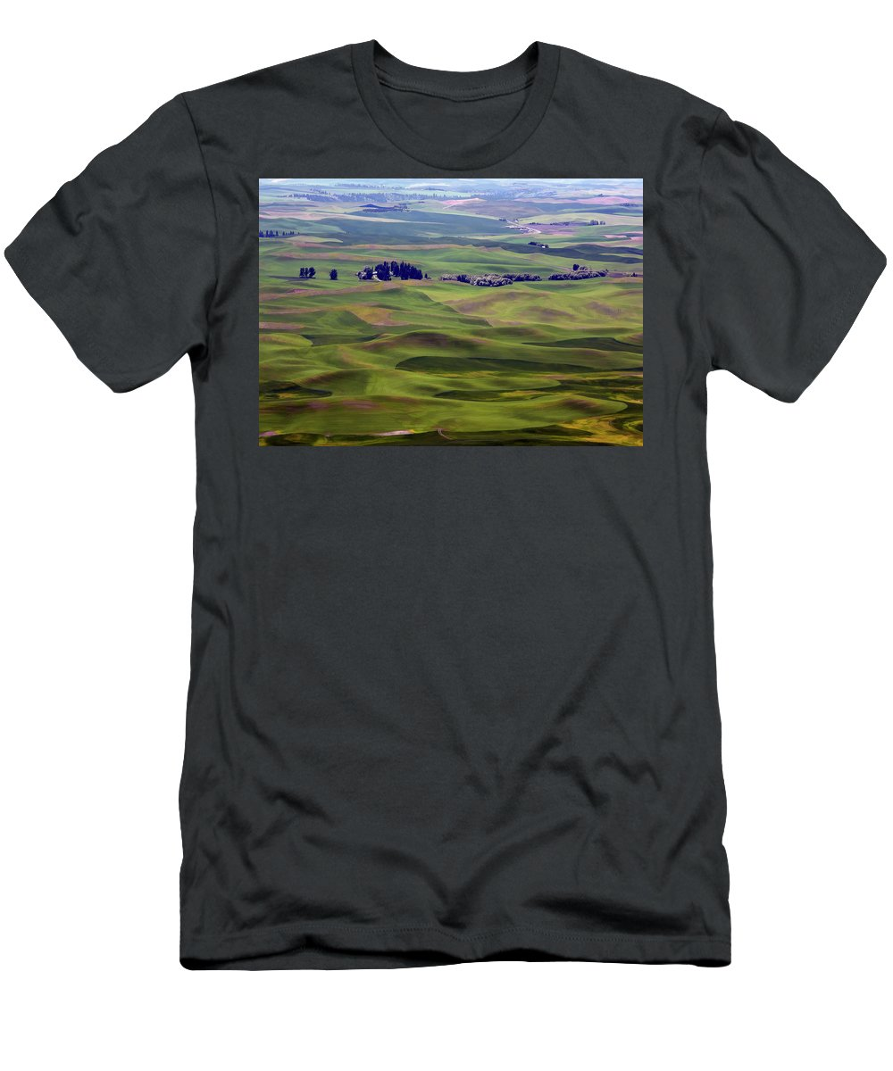 Palouse Men's T-Shirt (Athletic Fit) featuring the photograph Wheat Fields Of The Palouse - Eastern Washington State by Daniel Hagerman