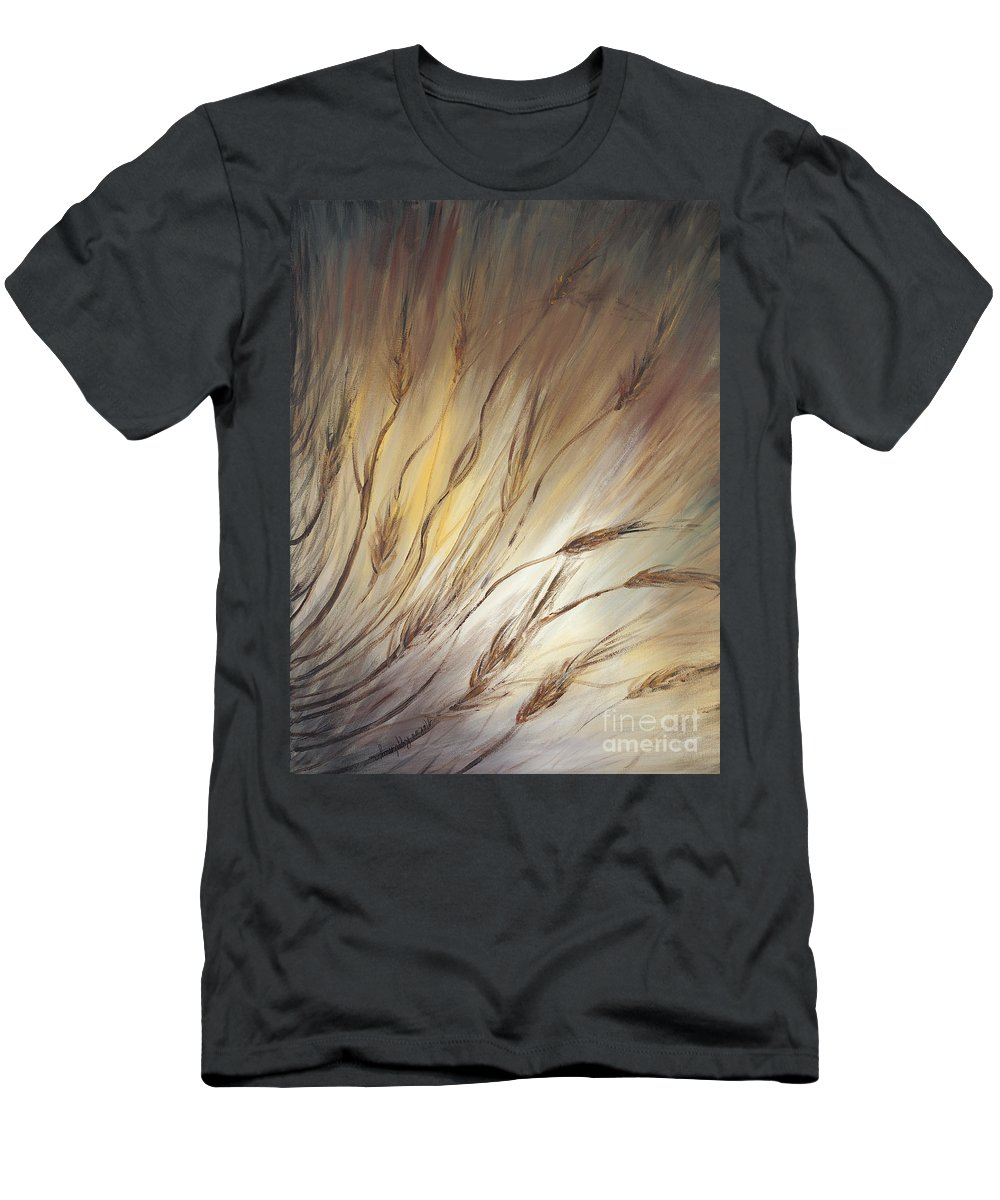 Wheat Men's T-Shirt (Athletic Fit) featuring the painting Wheat In The Wind by Nadine Rippelmeyer