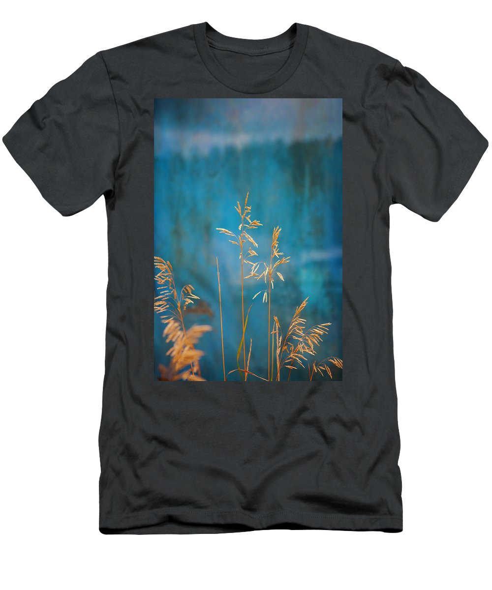 Wheat Men's T-Shirt (Athletic Fit) featuring the photograph Wheat On Blue 1 by Marilyn Hunt