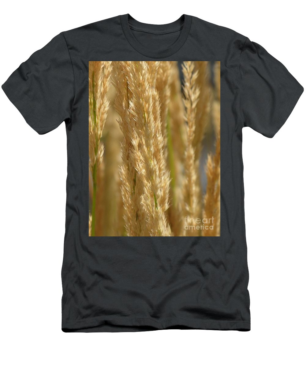 Wheat Men's T-Shirt (Athletic Fit) featuring the photograph Wheat Stalks by Diane Greco-Lesser