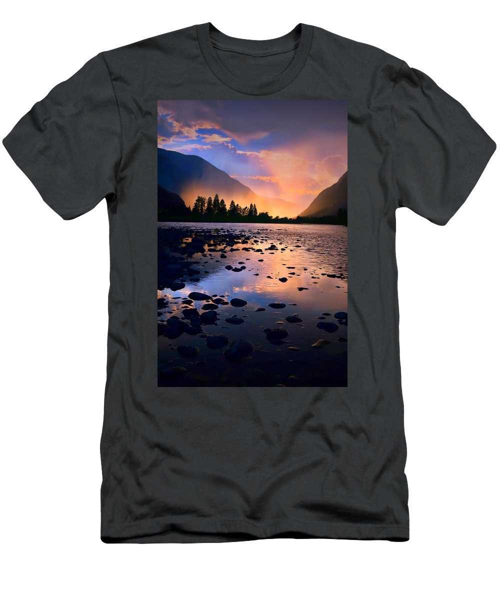 Rocks Men's T-Shirt (Athletic Fit) featuring the photograph When The Rain Falls And The Sun Sets by Tara Turner