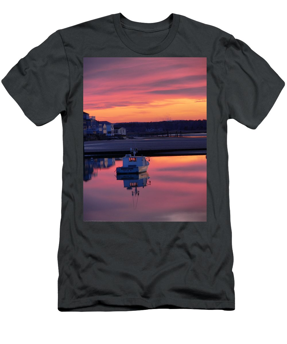 Spring Men's T-Shirt (Athletic Fit) featuring the photograph When The Sun Goes Down by Nancie DeMellia