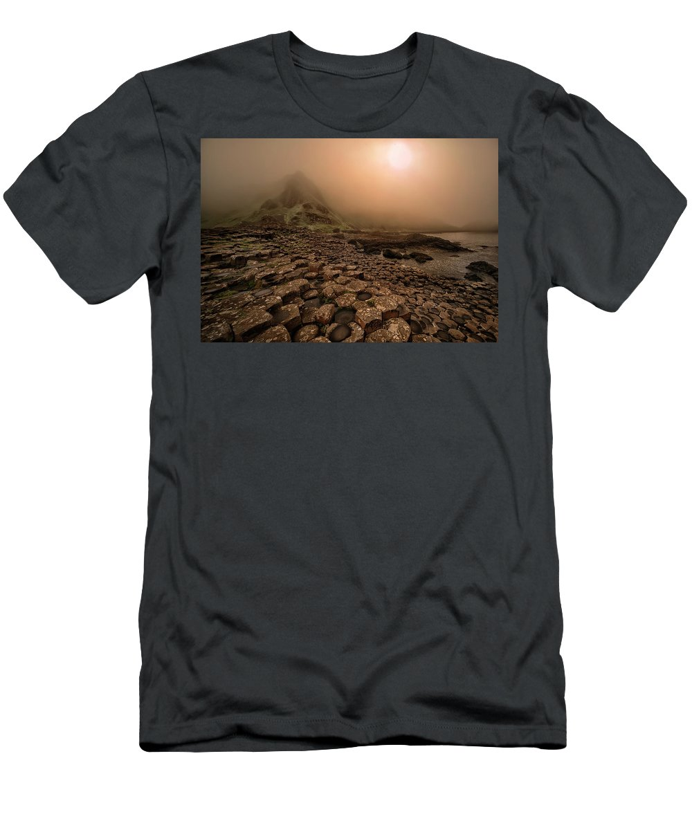 Causeway Men's T-Shirt (Athletic Fit) featuring the photograph Sunset At Giant's Causeway by Jaroslaw Blaminsky