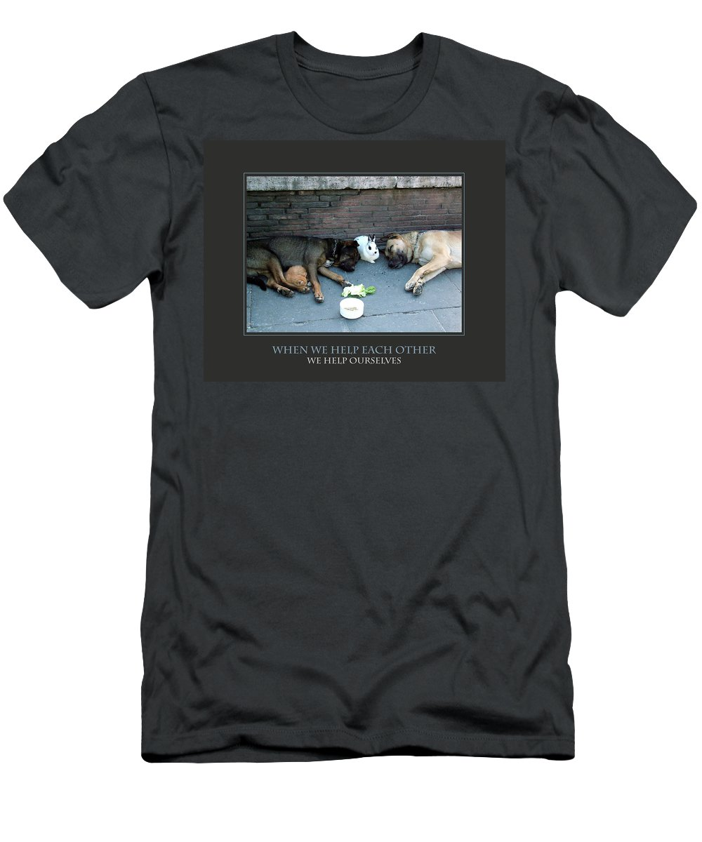 Motivational Men's T-Shirt (Athletic Fit) featuring the photograph When We Help Each Other by Donna Corless