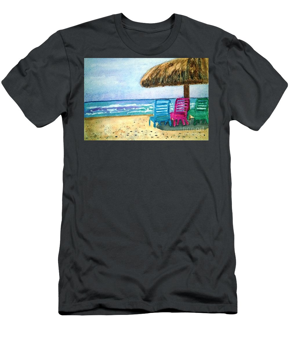 Beach Men's T-Shirt (Athletic Fit) featuring the painting Peaceful Day At The Beach by Sue Carmony