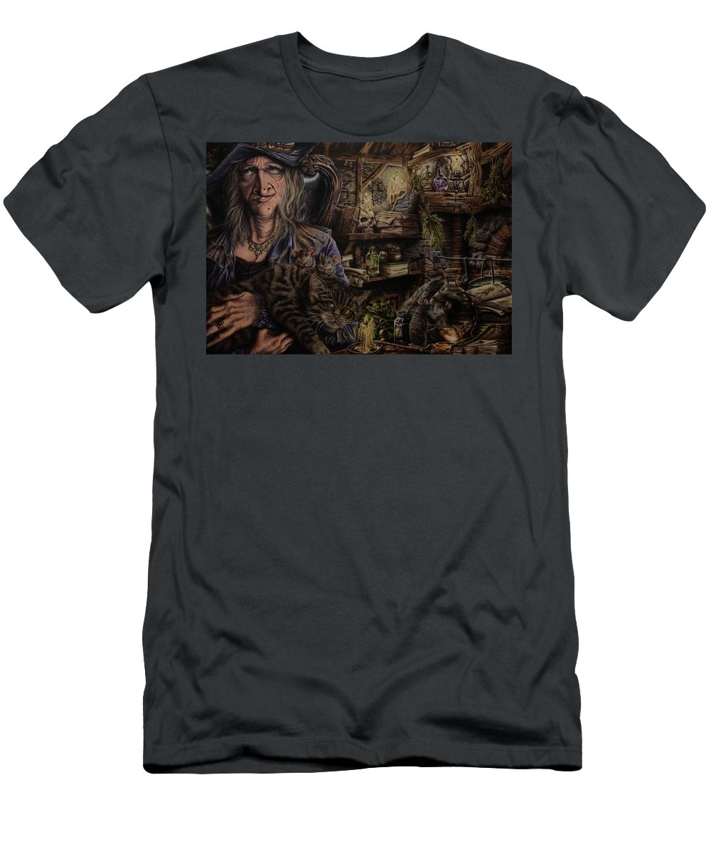 Fantasy T-Shirt featuring the painting Which witch is which by Robert Haasdijk