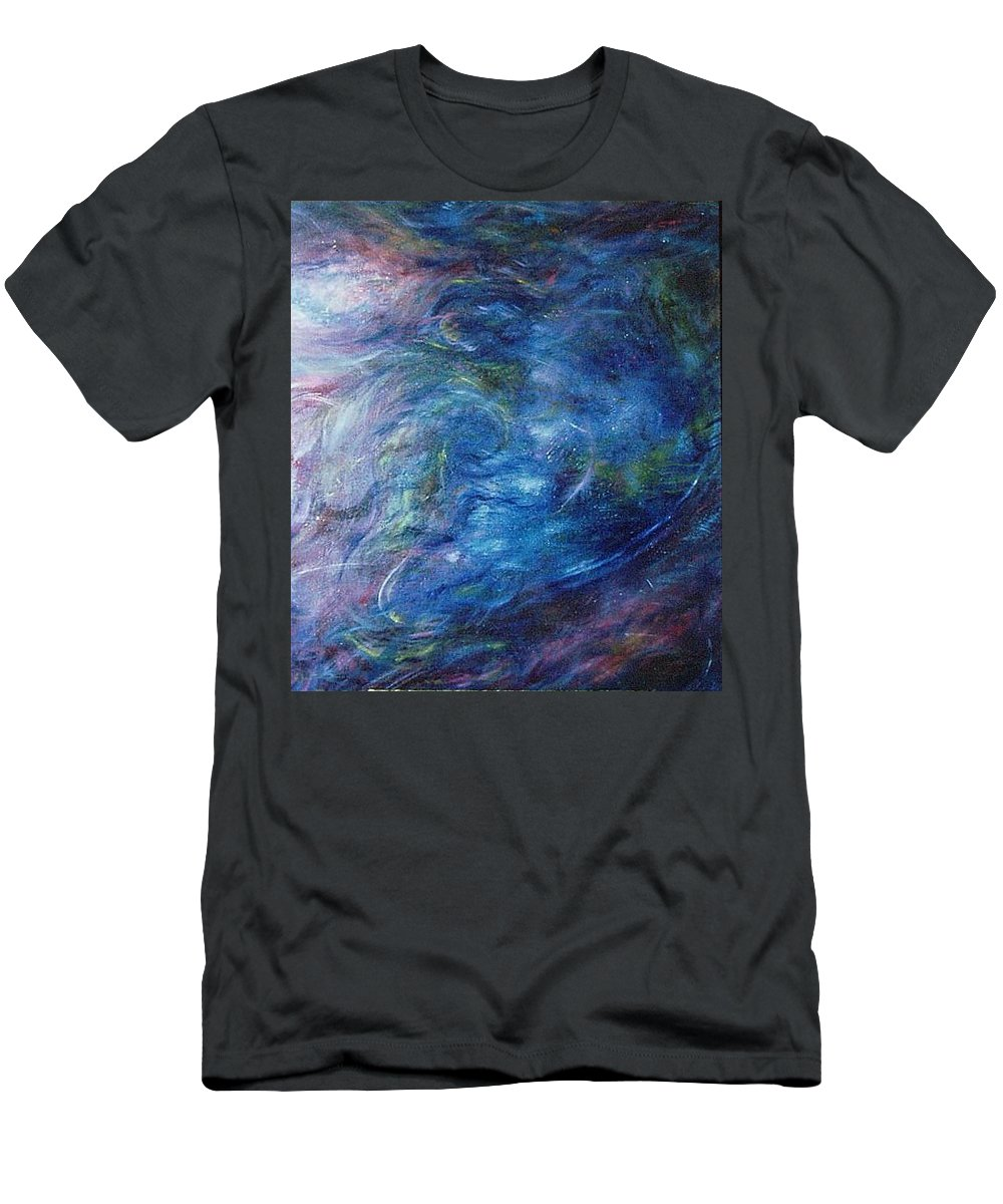 Abstract Men's T-Shirt (Athletic Fit) featuring the painting Whispers In A Sea Of Blue by Nancy Mueller