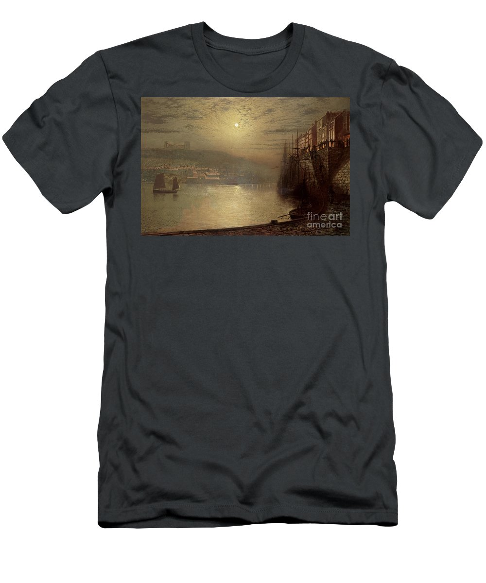 Whitby Men's T-Shirt (Athletic Fit) featuring the painting Whitby by John Atkinson Grimshaw