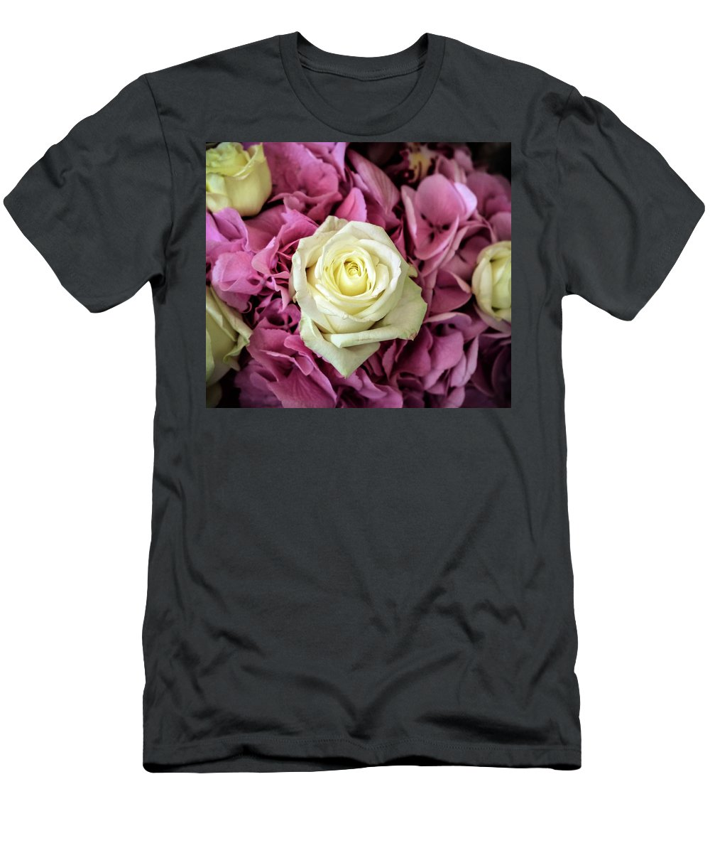 Roses Men's T-Shirt (Athletic Fit) featuring the photograph White And Pink Roses by Judi Saunders