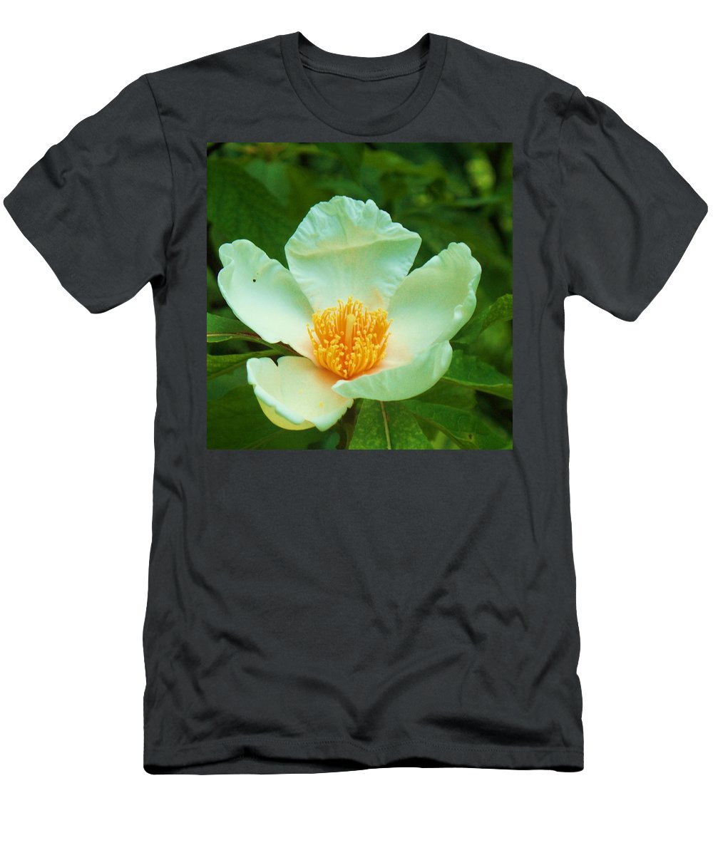 Flora Men's T-Shirt (Athletic Fit) featuring the painting White And Yellow Flower by Eric Schiabor