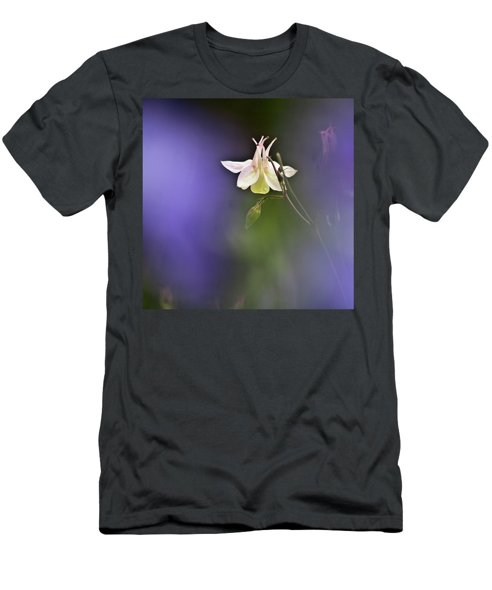 Aquilegia Men's T-Shirt (Athletic Fit) featuring the photograph White Aquilegia by Heiko Koehrer-Wagner