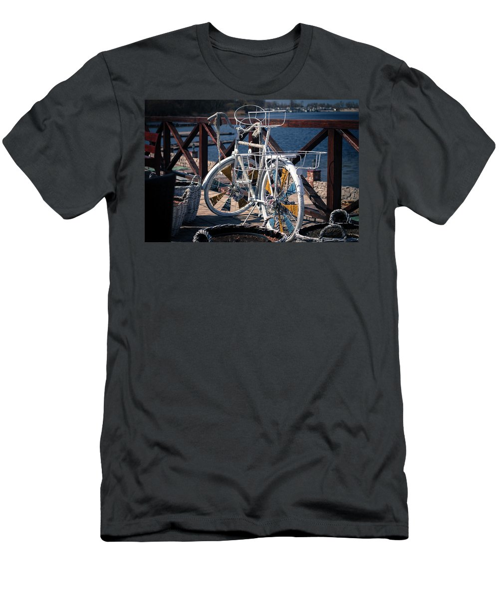 White Bicycle Men's T-Shirt (Athletic Fit) featuring the photograph White Bike by Natalia Ochkalo