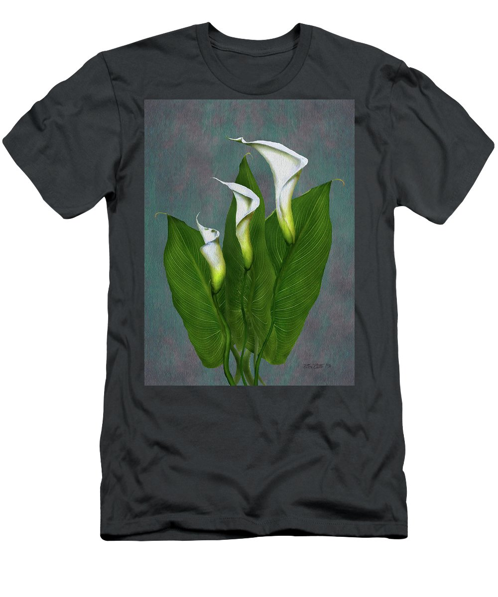 White Calla Lilies Men's T-Shirt (Athletic Fit) featuring the painting White Calla Lilies by Peter Piatt
