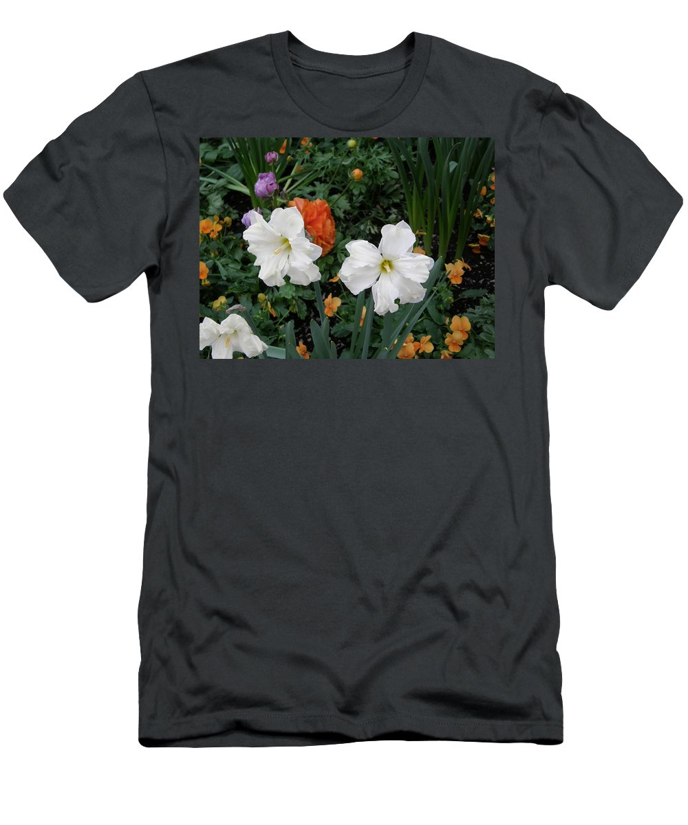 White Men's T-Shirt (Athletic Fit) featuring the photograph White Daffodills by Alice Markham