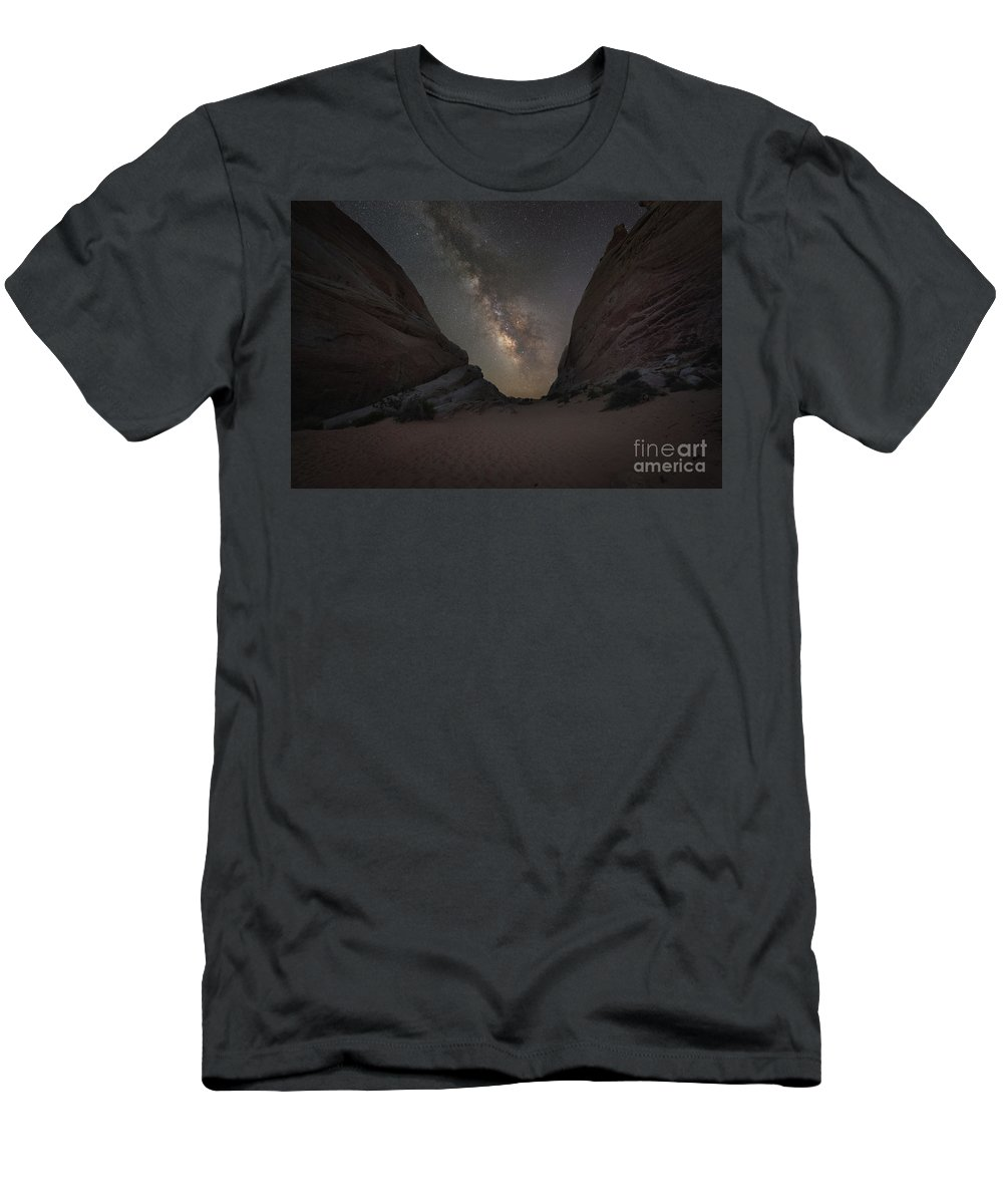White Domes Men's T-Shirt (Athletic Fit) featuring the photograph White Domes At Night by Michael Ver Sprill