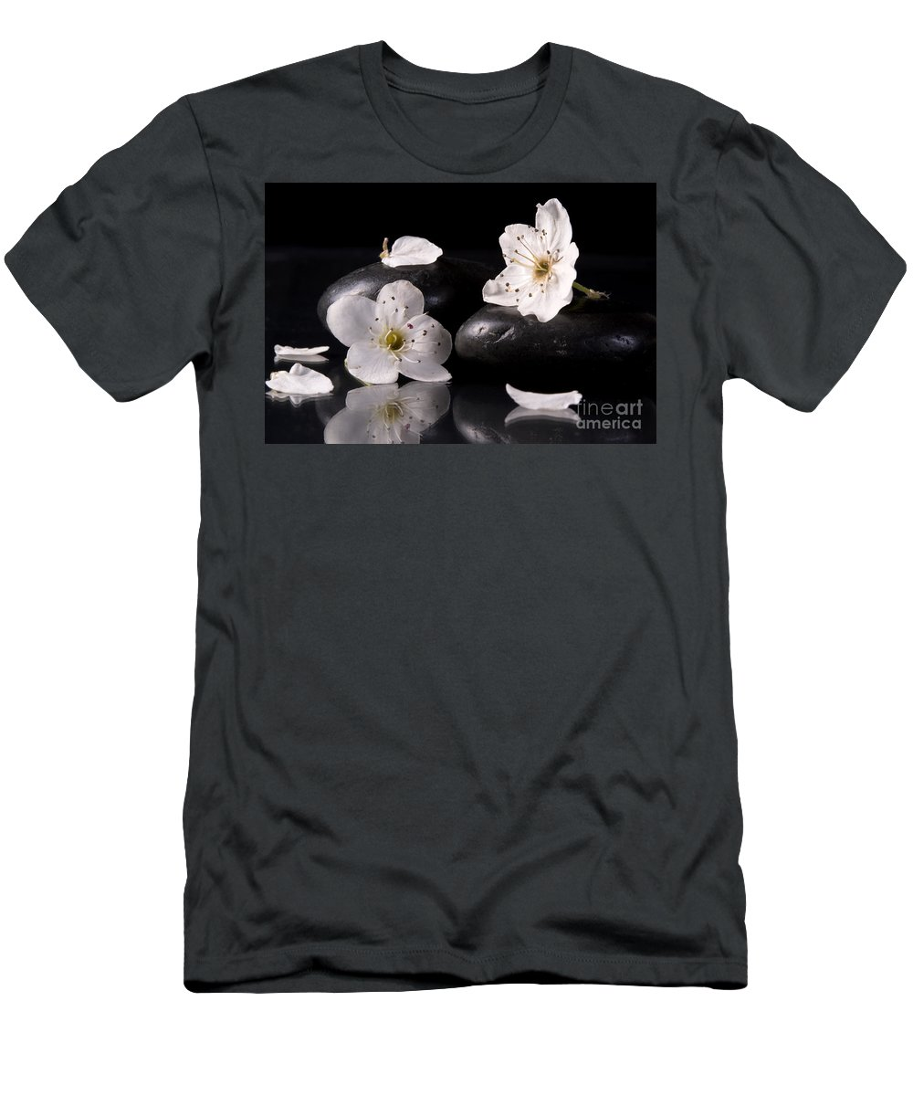White Men's T-Shirt (Athletic Fit) featuring the photograph White Flowers Black Stones by Michelle Himes