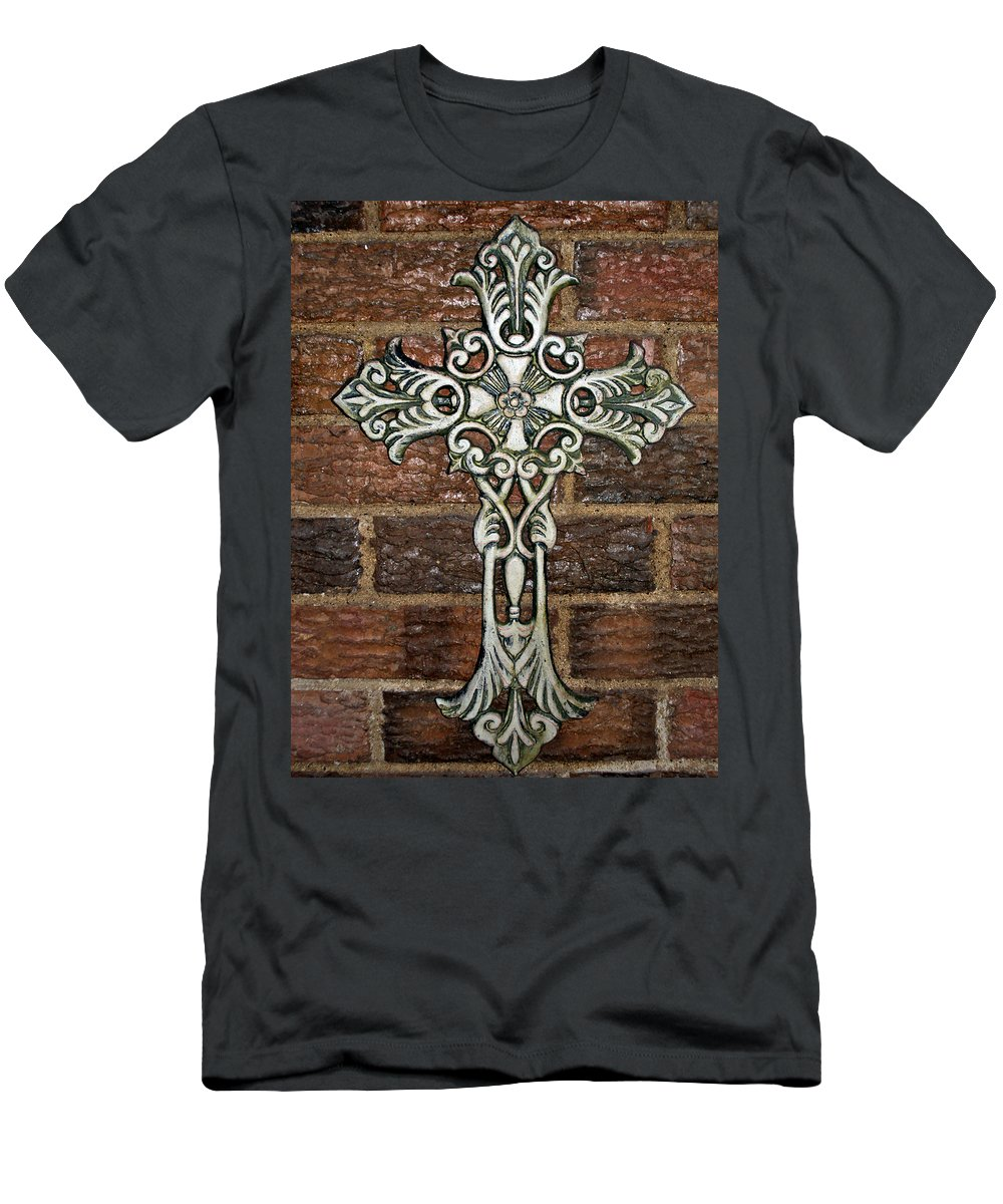 Iron Men's T-Shirt (Athletic Fit) featuring the photograph White Iron Cross 1 by Angelina Vick