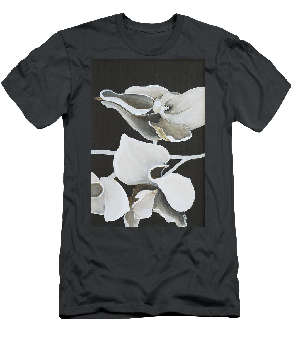Orchid Men's T-Shirt (Athletic Fit) featuring the painting White Orchid Middle Section by Catt Kyriacou