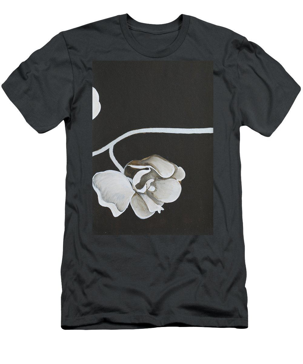 Orchid Men's T-Shirt (Athletic Fit) featuring the painting White Orchid Third Section by Catt Kyriacou