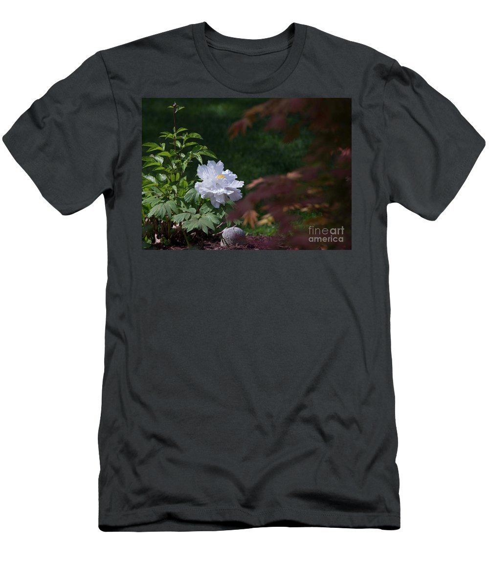 White T-Shirt featuring the photograph White Peony by David Bearden