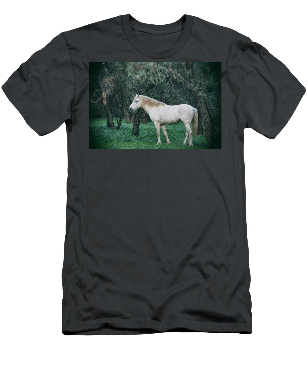 Wild Horses Men's T-Shirt (Athletic Fit) featuring the photograph White Stallion In The Woods by Saija Lehtonen