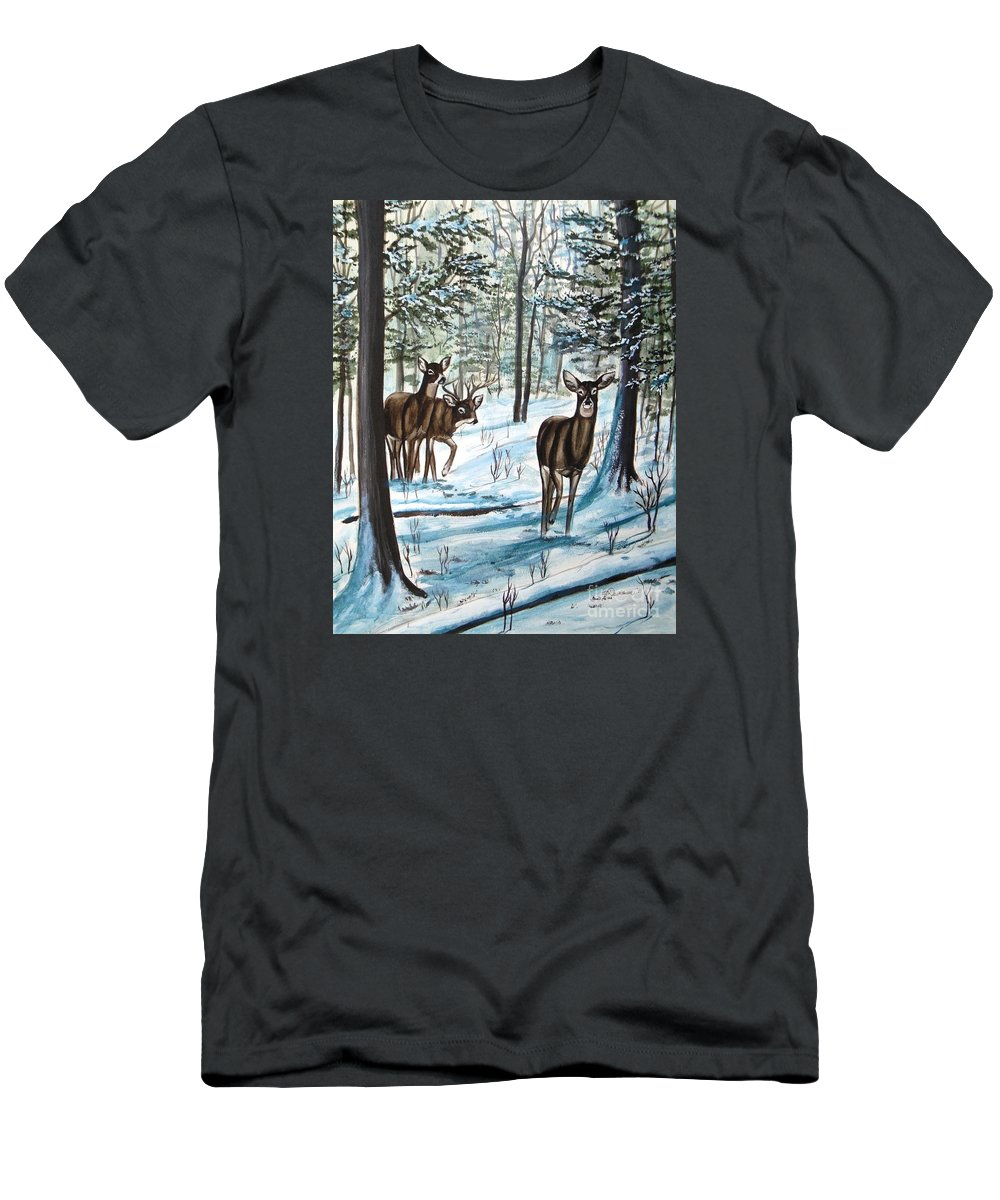 Deer Men's T-Shirt (Athletic Fit) featuring the painting White Tail Deer In Winter by Patricia L Davidson