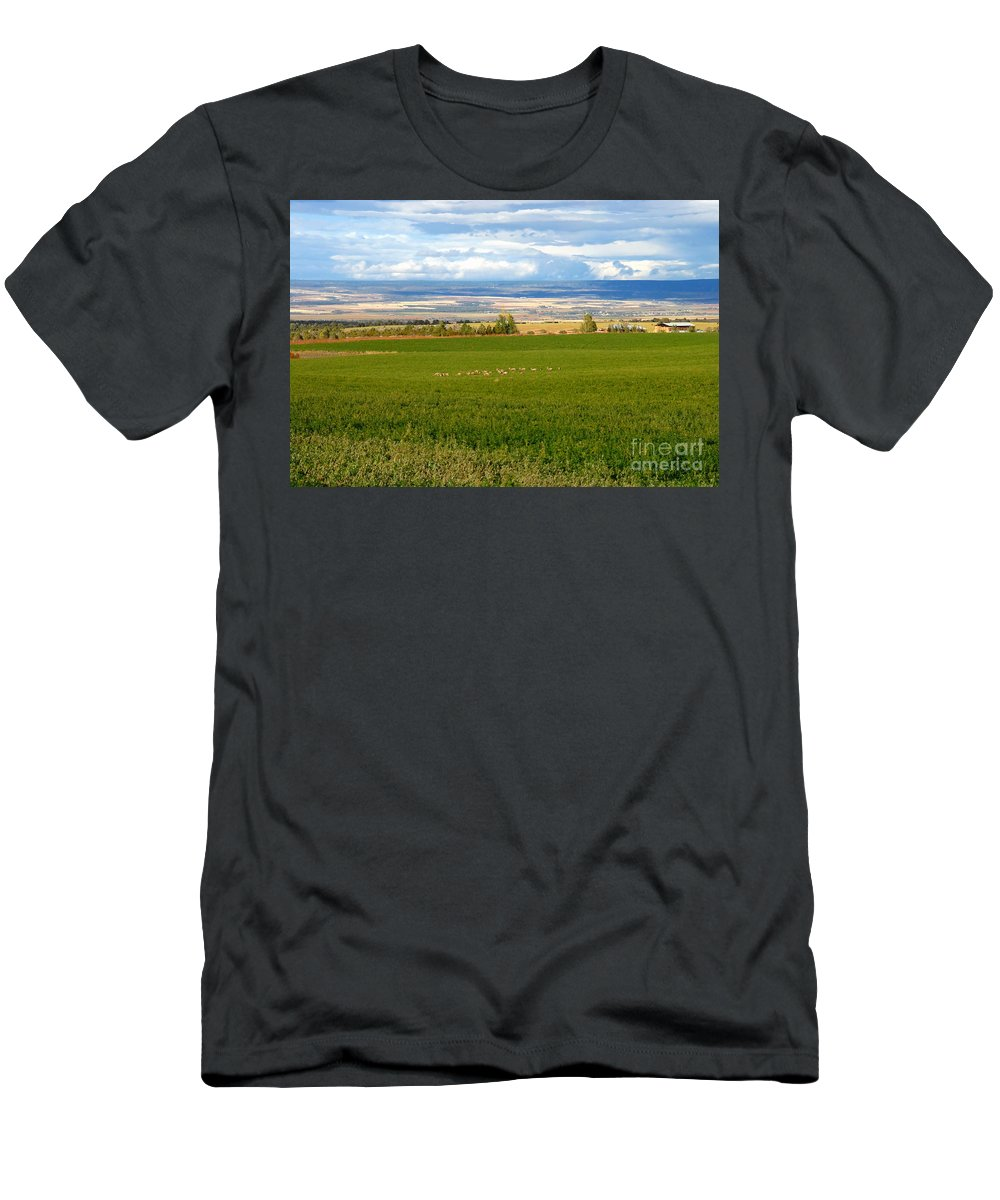 White Tail Deer Men's T-Shirt (Athletic Fit) featuring the photograph White Tails In The Field by David Lee Thompson
