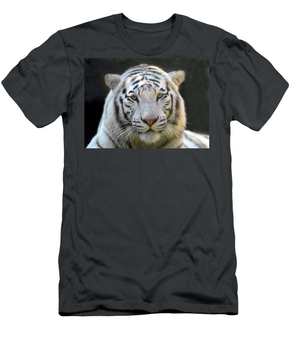 White Tiger Men's T-Shirt (Athletic Fit) featuring the photograph White Tiger by David Lee Thompson