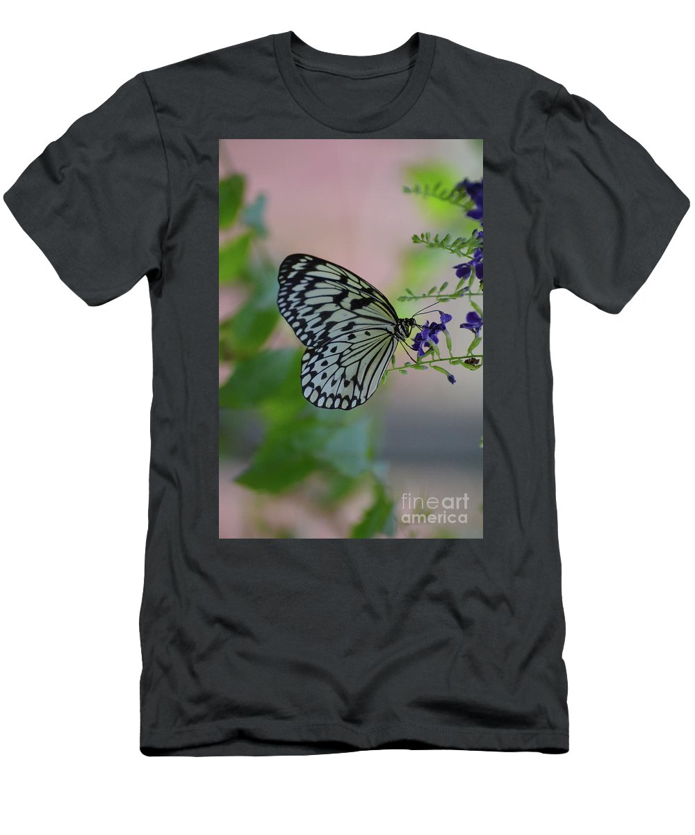Tree-nymph Men's T-Shirt (Athletic Fit) featuring the photograph White Tree Nymph Polinating Purple Flowers by DejaVu Designs