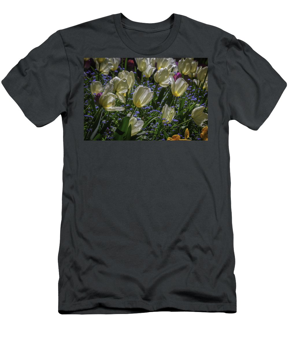 White Men's T-Shirt (Athletic Fit) featuring the photograph White Tulips In The Garden by Garry Gay